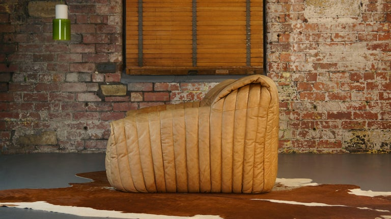 Late 20th Century Ligne Roset Tan Leather Couch by Cinna / Two-Seat Togo Sofa, French, 1970s For Sale