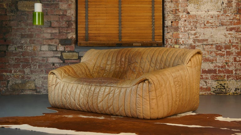 Ligne Roset Tan Leather Couch by Cinna / Two-Seat Togo Sofa, French, 1970s For Sale 1