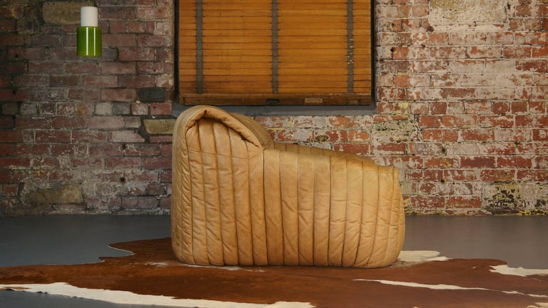 Vintage Ligne Roset tan leather couch by Cinna   Model name: Sandra  Design by Annie Hieronimus for Cinna (Ligne Roset) France, circa 1977   Very good, clean vintage condition with a beautiful, desirable patina.  Genuine high quality tan