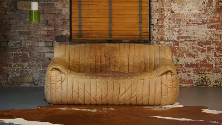 Ligne Roset Tan Leather Couch By Cinna Two Seat Togo