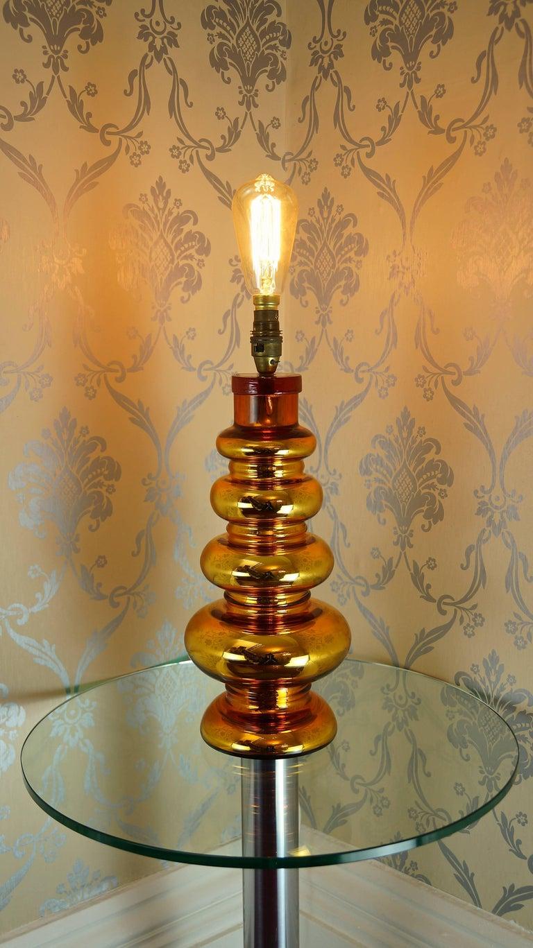 Johansfors Glasbruk Mercury Glass Gold Table Lamp, Vintage, Swedish, 1960s For Sale 4
