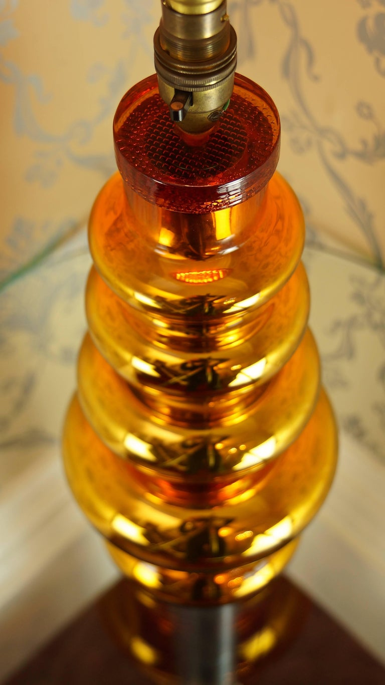 Johansfors Glasbruk Mercury Glass Gold Table Lamp, Vintage, Swedish, 1960s For Sale 2