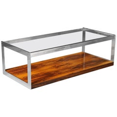 Vintage Chrome and Rosewood Coffee Table by Richard Young for Merrow Associates