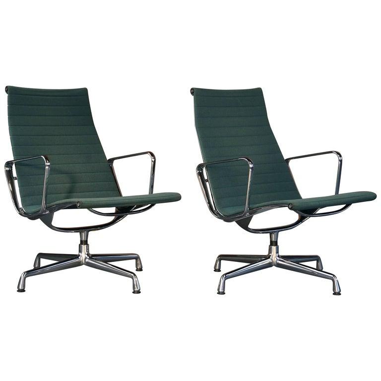 Charles Eames EA 116 Hopsack Lounge Chairs Teal Green Blue Vintage Midcentury