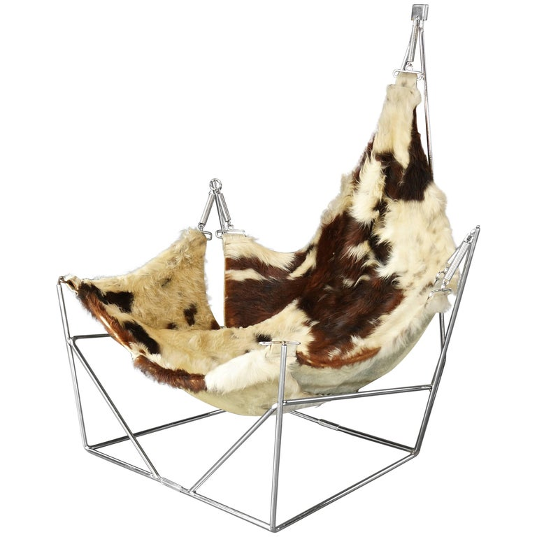 Rare Sculptural Metal Framed Cowhide Sling Lounge Chair, Pierre Paulin, France