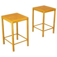 Pair of Rare Early Vintage Fritz Hansen Side/End Tables in Beech, 1940s