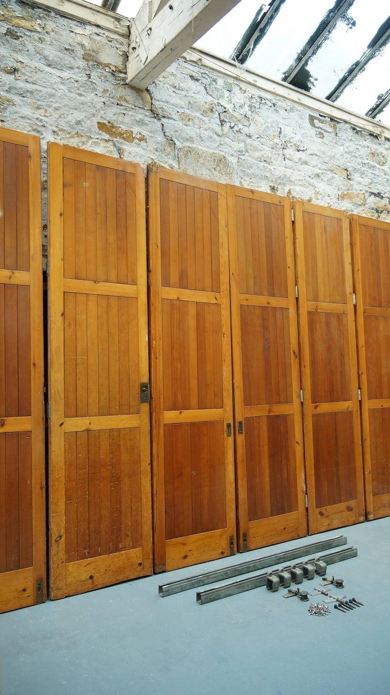 British Vintage Reclaimed / Salvage Oregon Pine Room Dividers / Hinged Bi-Folding Doors For Sale