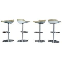Set of Six Cream Leather Walter Knoll Turtle Bar/Counter Stools, Pearson, Lloyd