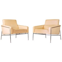 Pair of Danish Leather Arne Jacobsen Series 3300 Lounge Chairs Fritz Hansen