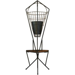 Midcentury Vintage 1960s Iron and Teak Hanging Planter, Plant Stand, Side Table