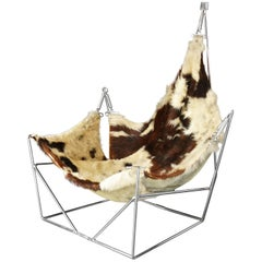 Rare Sculptural Metal Framed Cowhide Sling Lounge Chair, Pierre Paulin, France