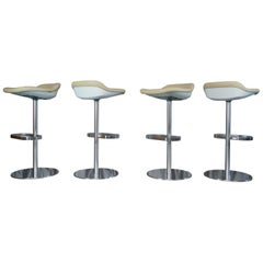 Set of Four Cream Leather Walter Knoll Turtle Bar/Counter Stools, Pearson, Lloyd