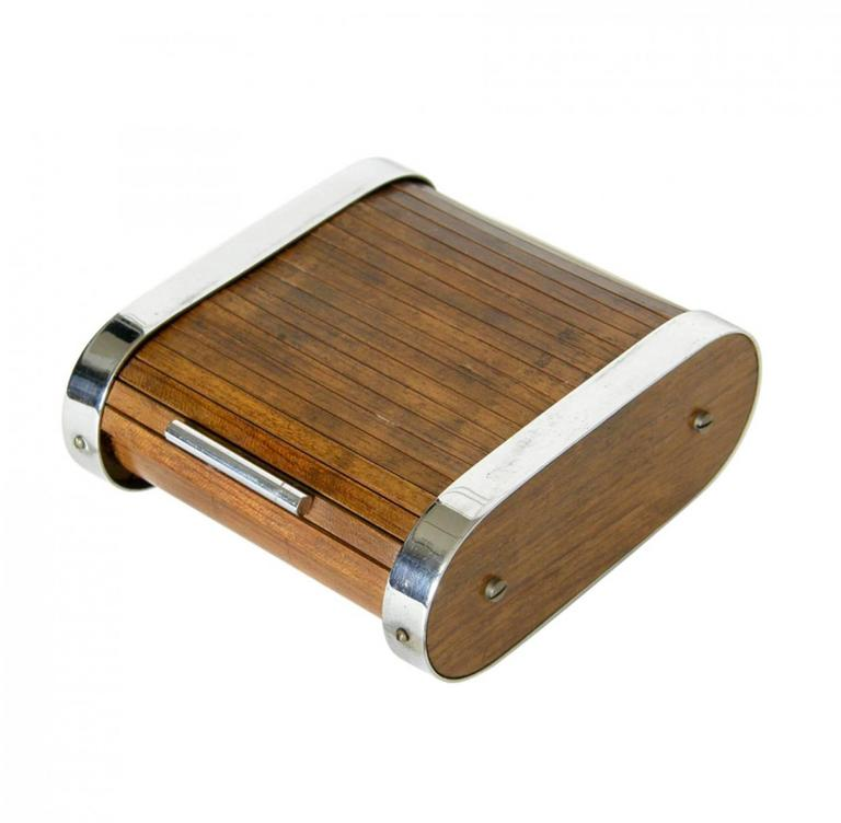 Art Deco Early Tambour Roll Top Cigarette Or Storage Box By Carl Auböck For