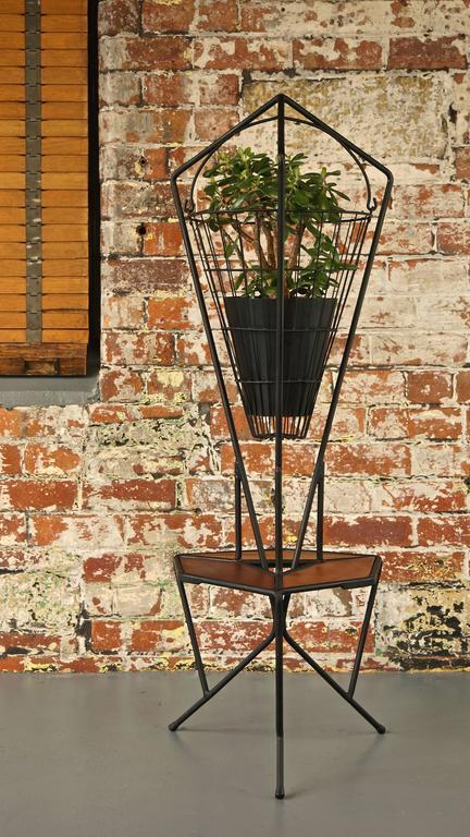 Midcentury Vintage 1960s Iron And Teak Hanging Planter