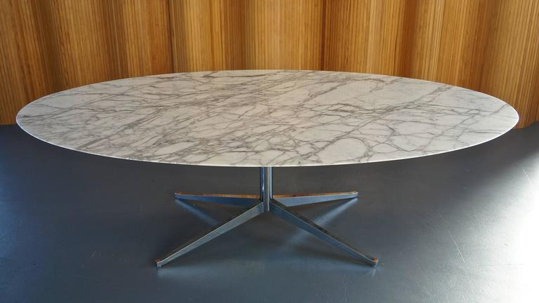 White Calacatta Marble Dining Table Meeting Or Desk By Florence Knoll Manufacturer