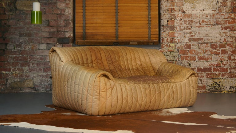 Ligne Roset Tan Leather Couch by Cinna / Two-Seat Togo Sofa, French, 1970s For Sale 5