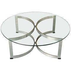 Vintage Model 341C Chrome Steel Glass Circular Coffee Table, Merrow Associates