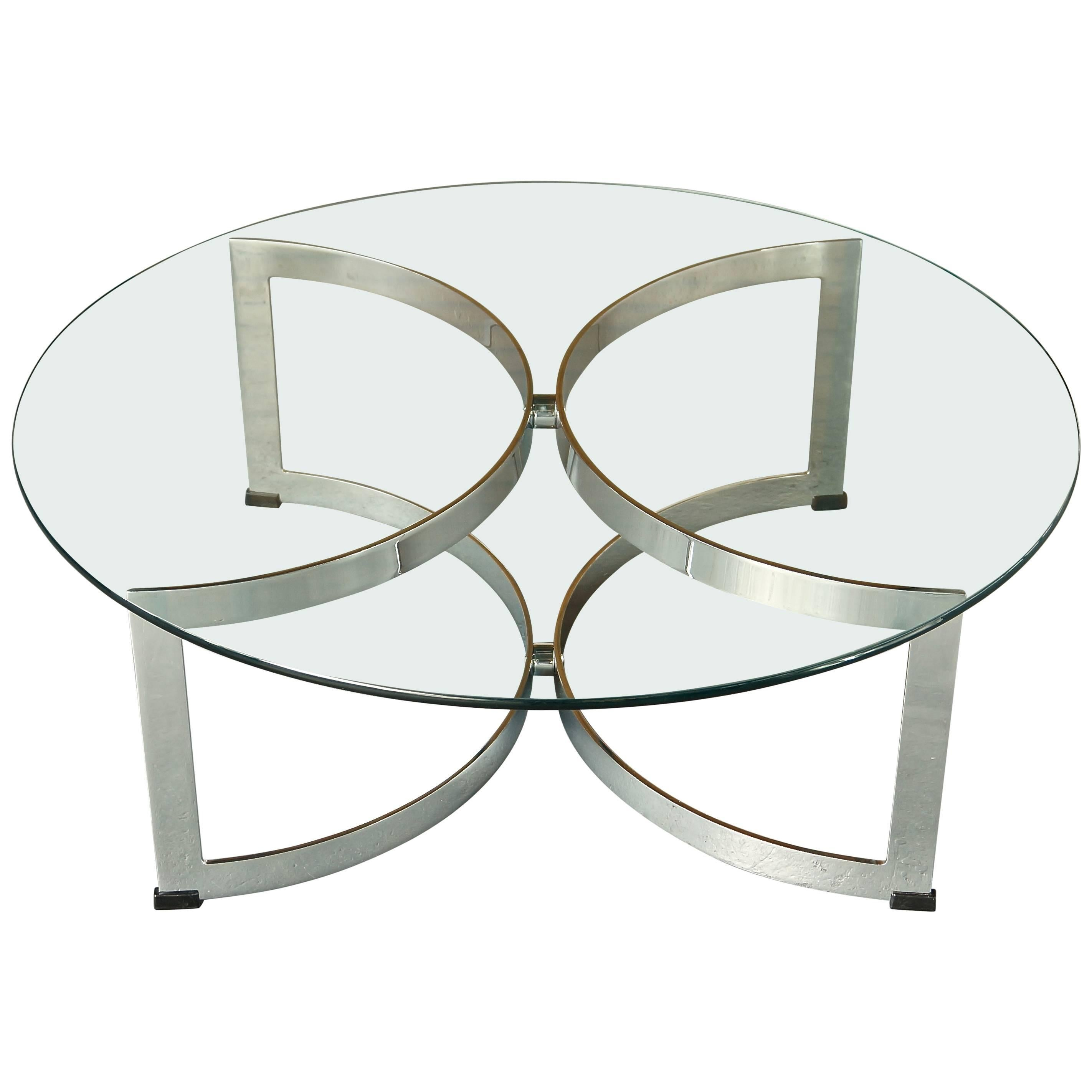 Vintage Model 341C Chrome Steel Glass Circular Coffee Table, Merrow  Associates For Sale