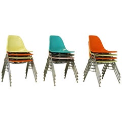 Vintage Midcentury Eames Fiberglass Stacking Shell Chairs, DSS-N Side Chairs