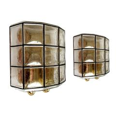 Pair of Iron and Bubble Glass Sconces Wall Lamps by Limburg Germany, 1960s