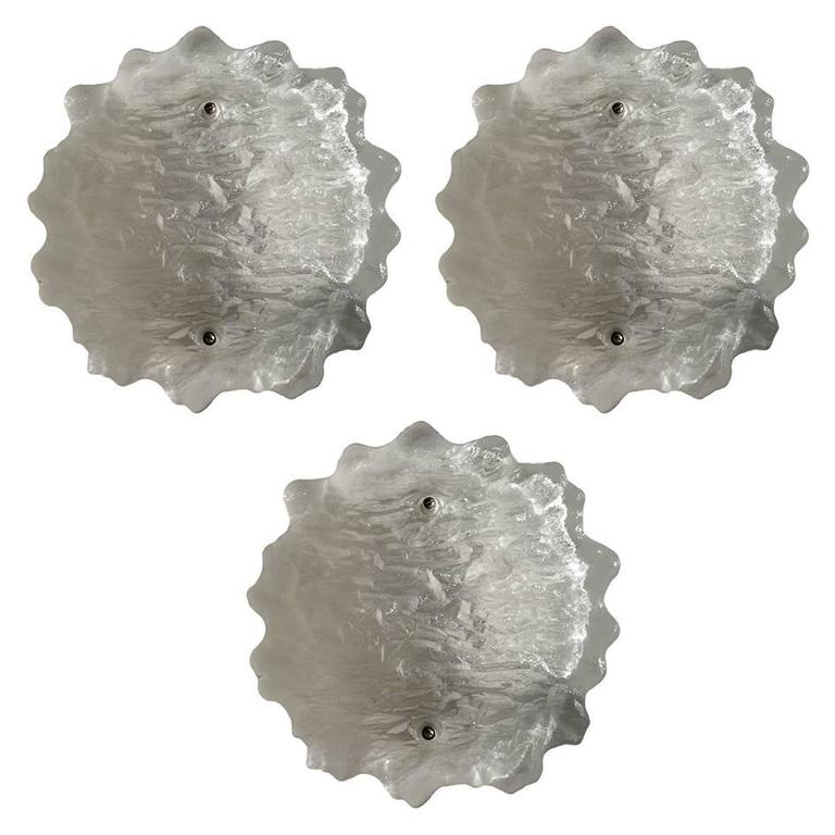 Three Kalmar Frosted Glass Wall or Ceiling Lights Flush Mounts, 1960s
