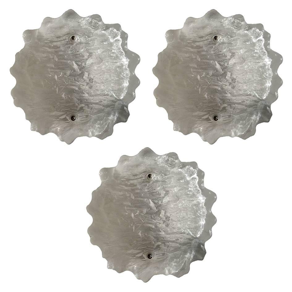 Austrian Vintage Frosted Glass Wall or Ceiling Lights Flush Mounts, 1960s