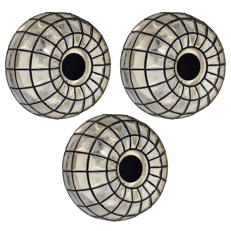 Three Large Iron and Glass Flush Mounts Ceiling or Wall Lights by Limburg