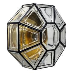 Large Glass Flush Mount Ceiling or Wall Light by Limburg, 1960s