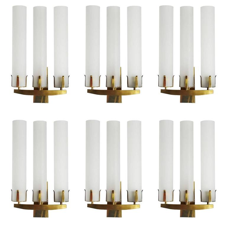 Seven French Huge Glass and Solid Brass Wall Lights Sconces 1950s