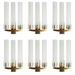 Rare Set of Seven Huge Glass and Solid Brass Wall Lights Sconces France, 1950s