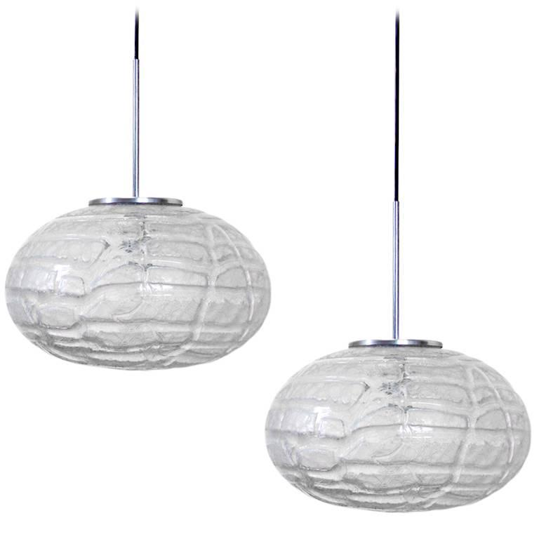 Two Extra Large Massive Glass Globe Pendants Lights by Doria, Germany, 1970s