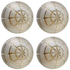 Set of Four Large Iron and Glass Flush Mounts Ceiling or Wall Lights by Limburg