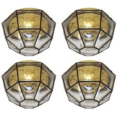 Set of Four Large Iron and Glass Ceiling or Wall Flush Mounts by Limburg, 1960s
