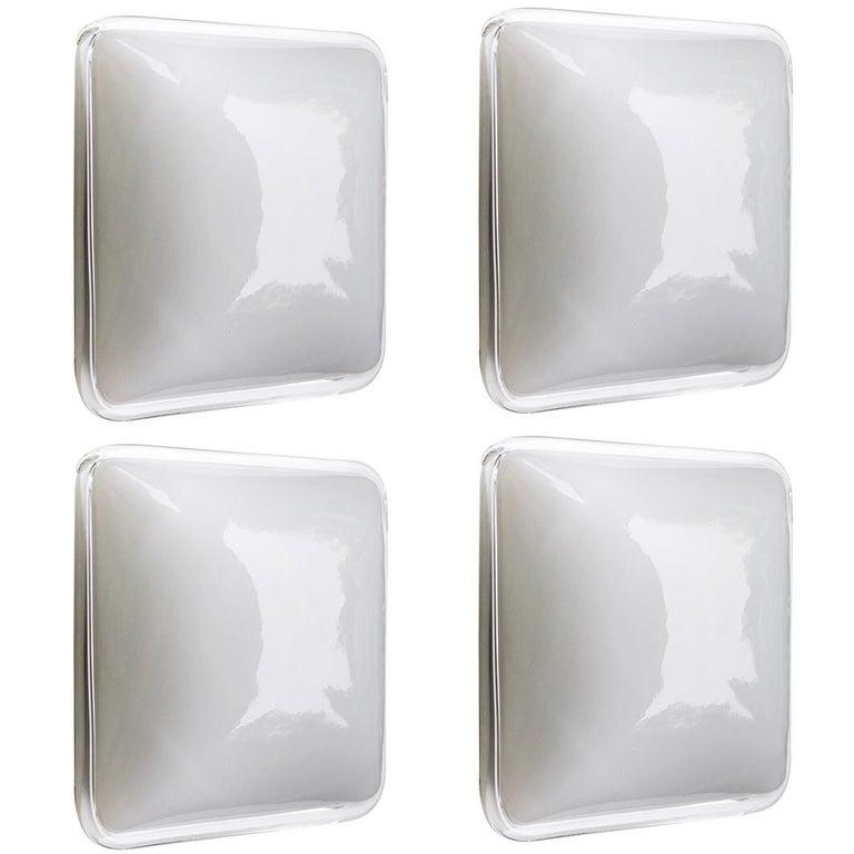 Four Italian Square Handblown Glass Wall Ceiling Lights Flush Mounts, 1960s