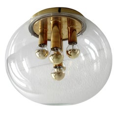 Vintage German Blown Glass Globe Flush Mount Light, 1970s