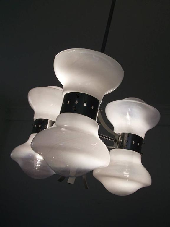 Rare Carlo Nason Blown Glass and Chome Chandelier Italy, 1960 5
