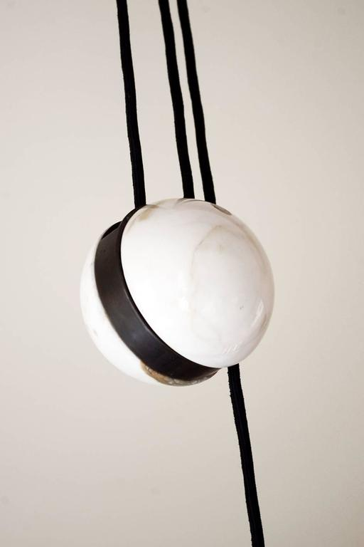 20th Century Beautiful Large Brass & Marble Adjustable Counterweight Pendant Lamp Germany 60s For Sale