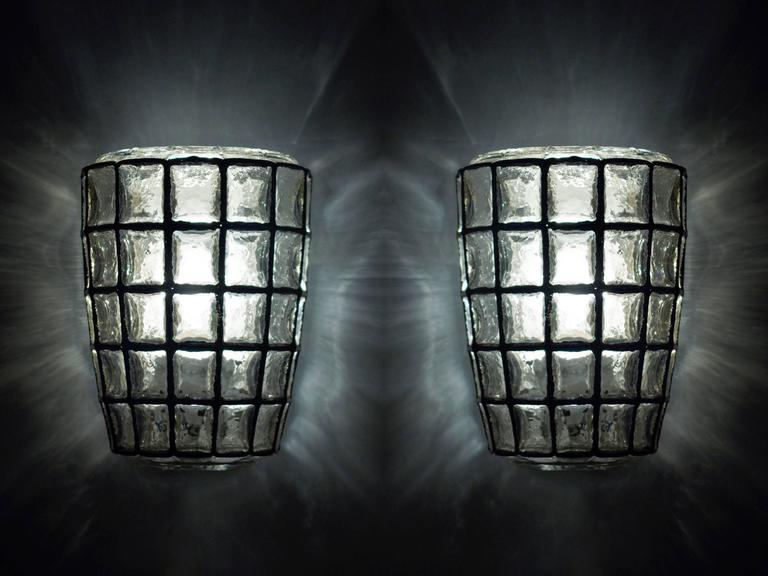 Pair of German Iron and Bubble Glass Sconces Wall Lights by Limburg, 1960s 6