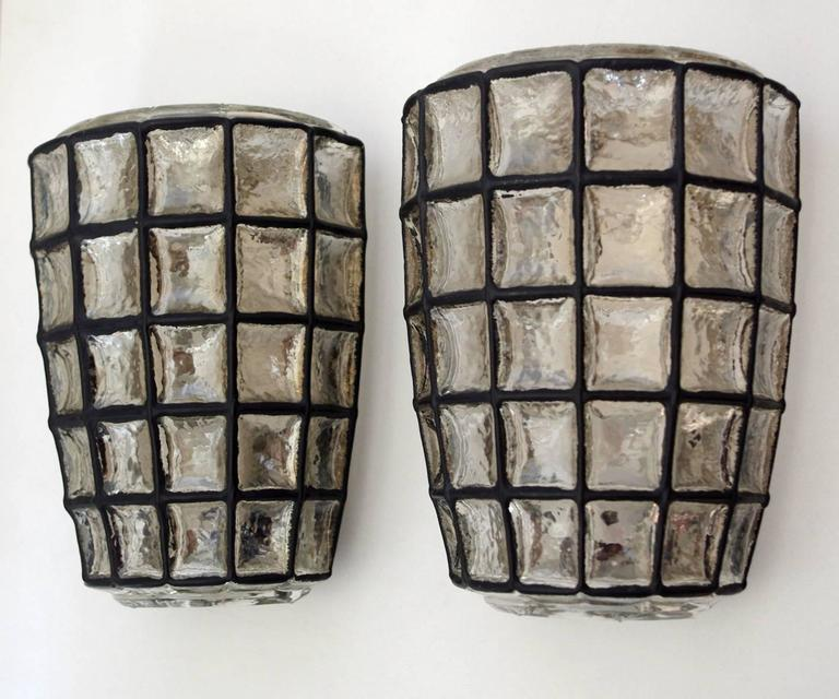 Pair of German Iron and Bubble Glass Sconces Wall Lights by Limburg, 1960s 10