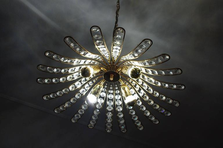 Wonderful Austrian Crystal Glass and Gilt Brass Ceiling Light Pendant Chandelier 2