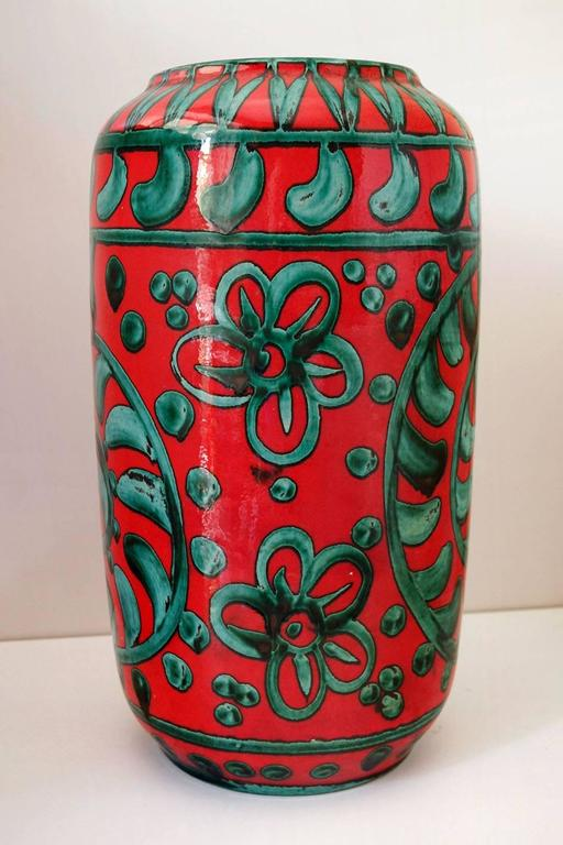 Glazed Large German Floor Vase by Scheurich Keramik, W-Germany Pottery, 1960s-1970s For Sale