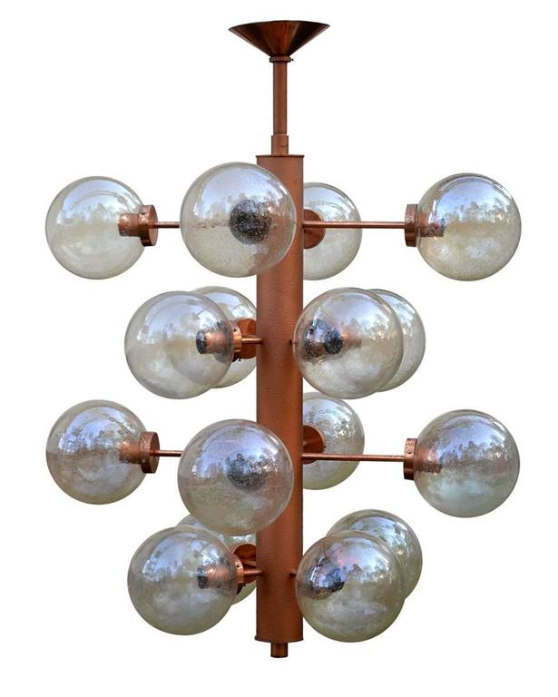 Giant Sputnik Chandeliers Pendants with 16 Glass Globes, Germany, 1960s For Sale 1