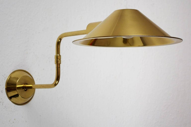 Rare Elegant German Solid Brass Swing Arm Wall Light Sconce, 1960s For Sale at 1stdibs