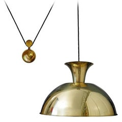 Huge and Rare Solid Brass Pendant Lamp by Florian Schulz, 1960s
