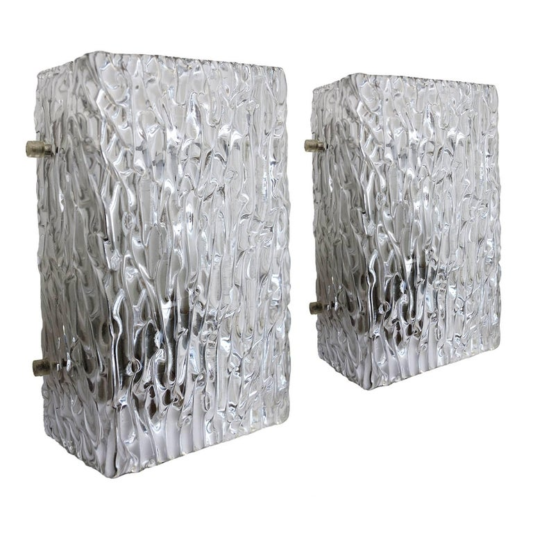 Textured Ice Glass Wall Lights Sconces by J.T. Kalmar, Austria, 1960s For Sale at 1stdibs