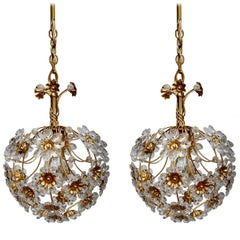 Pair of German Vintage Crystal Glass and Gold Brass Chandeliers Pendants, 1960s