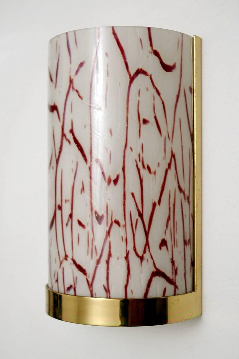 Mid-Century Modern Six Murano Glass and Brass Wall Lights Sconces, Italy, 1960s For Sale