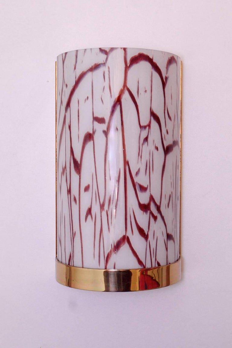 20th Century Six Murano Glass and Brass Wall Lights Sconces, Italy, 1960s For Sale