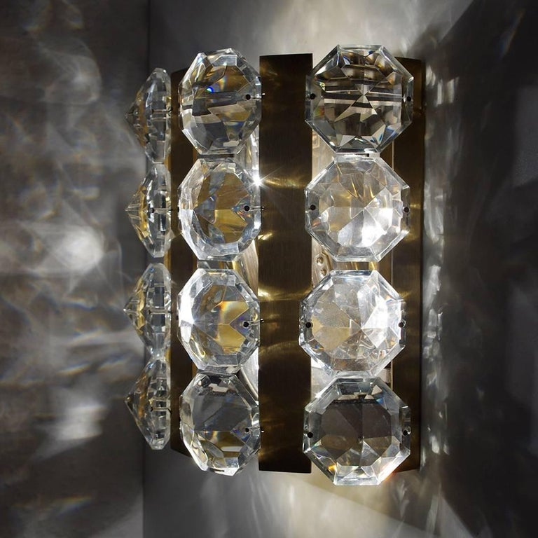 Set of Very Rare Austrian Vintage Glass and Brass Sconces, 1950s In Good Condition For Sale In Berlin, DE