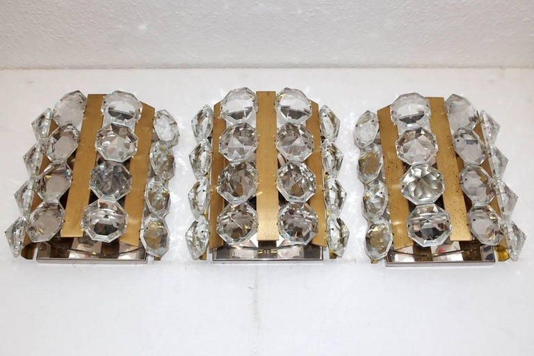Crystal Set of Very Rare Austrian Vintage Glass and Brass Sconces, 1950s For Sale